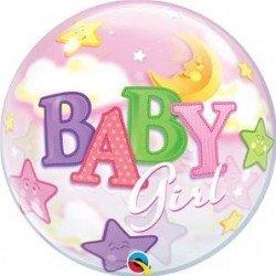 22 pulg. (55,8cm) Bubble Sencilla 01 Und. Bebé Niña Luna y Estrellas (BP)QL-23598 Qualatex