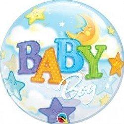 22 pulg. (55,8cm) Bubble Sencilla 01 Und. Bebé Niño Luna y Estrellas (BP)QL-23597 Qualatex