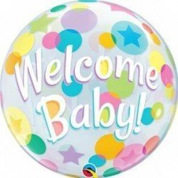 22 pulg. (55,8cm) Single Bubble 01Ct Welcome Baby Colorful Dots (BP)QL-25860 Qualatex