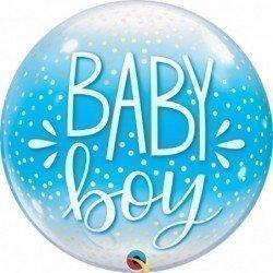 Globo Burbuja Baby Boy y lunares Blancos de 56 cm aproxQL-10040 Qualatex