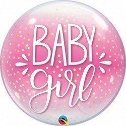 Globo Burbuja Baby Girl Rosa y lunares Blancos de 56 cm aproxQL-10035 Qualatex