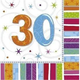 Servilletas (16) 33 cm 30 Cumpleaños Radiante