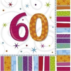Servilletas (16) 33 cm 60 Cumpleaños Radiante.