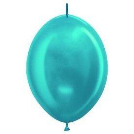 Globos (LOLR12) de 30cm aprx Esp. Arcos y TorresColor Azul Caribe Efecto Metalico-Cristal (25 ud)