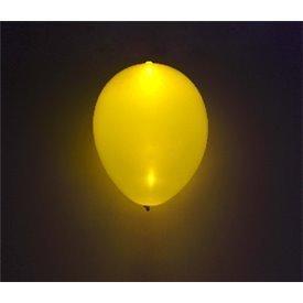 Globos de látex con Luz Led Color Amarillo Solido de aprox. 25cm. (5 ud)