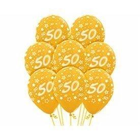 Globos Serigrafiado  Número 50 De 30 cm aprox Color Dorado Efecto Metalizado /12 ud/