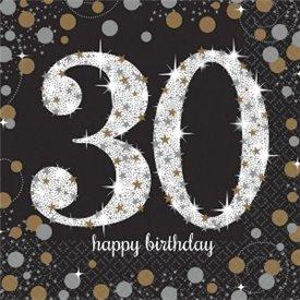 Servilleta Happy 30 Birthday (16) Prismatic Plata/oro (23 cm)