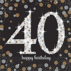Servilleta Happy 40 Birthday (16) Prismatic Plata/oro (23 cm)