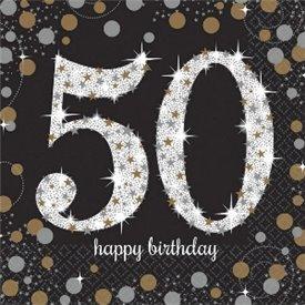 Servilleta Happy 50 Birthday (16) Prismatic Plata/oro (23 cm)