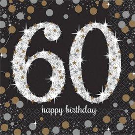 Servilleta Happy 60 Birthday (16) Prismatic Plata/oro (23 cm)