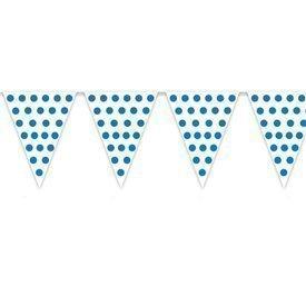 Banderín Triangulo Plástico Color Blanco Lunar Azul (5 Mts)