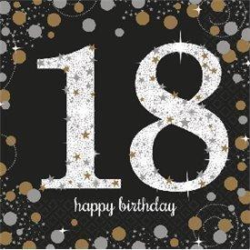 Servilleta Happy 18 Birthday (16) Prismatic Plata/oro