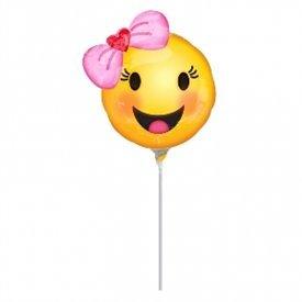 Globo Emoji Niña Sonriente palito