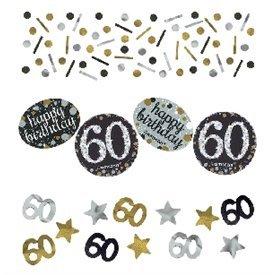 Confeti Happy 60 Birthday Prismatic Plata/oro