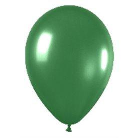Globos de 13 cm aprox Color Verde Efecto Metalico-Cristal (100 ud)