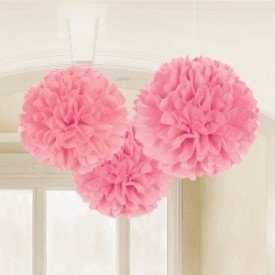 Fluffy PomPom Colgante Color Rosa (Contiene: 1 x 40cm, 1 x 33cm, 1 x 23cm)