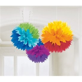 Fluffy PomPom Colgante Color Multicolor Arco Iris(3 de 40,6 cm)