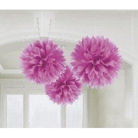 Fluffy PomPom Colgante Color Rosa (3 de 40,6 cm)
