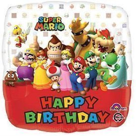 Globo Mario Bros Happy Birtdhay Foil 45 cm