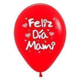 Globos Serigrafiado diseño Feliz día Mami de 30 cm aprox en Rojos y Blancos solido (10 ud)