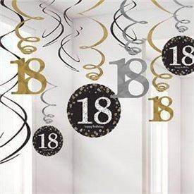 Decoracion Colgante Prismatic Plata/oro 18 Cumpleaños (6x2)