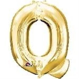 Globo Letra Q Mini de Color Oro (40 cm Aprox)