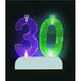 Vela Número 30 de luz led.