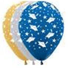 Globos Serigrafiado Graduacion de 30 cm aprox Colores Plata, Oro y Azul metal (12 ud)