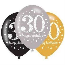 Globos Happy Birtdhay 30 Plata/Negro/Dorado Prismatic (6)