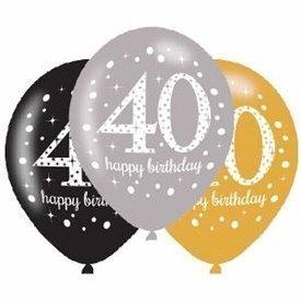 Globos Happy Birtdhay 40 Plata/Negro/Dorado Prismatic (6)