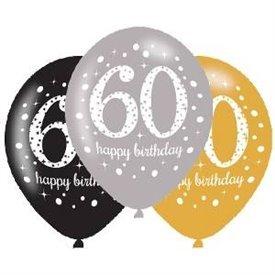 Globos Happy Birtdhay 60 Plata/Negro/Dorado Prismatic (6)
