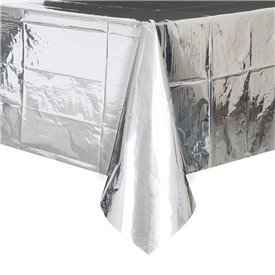 Mantel Plata Brillo Plastificado