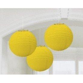 Linternas Colgantes Color Amarillo (3 de 20,4 cm)