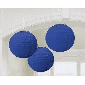 Linternas Colgantes Color Azul Fuerte (3 de 20,4 cm)