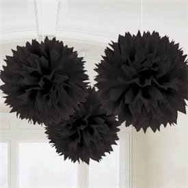 Fluffy PomPom Colgante Color Negro (3)