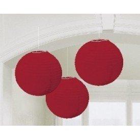 Linternas Colgantes Color Rojo (3 de 20,4 cm)