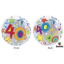 Globo 40 Años Estrellas Brillantes Burbuja Bubble