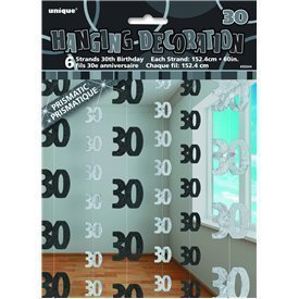 Decoracion Colgantes 30 Cumpleaños Negro y Plata (6)