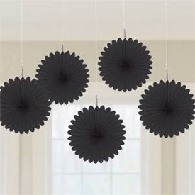 Farolillos Abanico color Negro (5 de 15,2 cm)