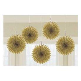 Farolillos Abanico color oro (5 de 15,2 cm)