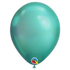 """Globos CHROME QUALATEX Green de 11""""- 28cm (25)"""
