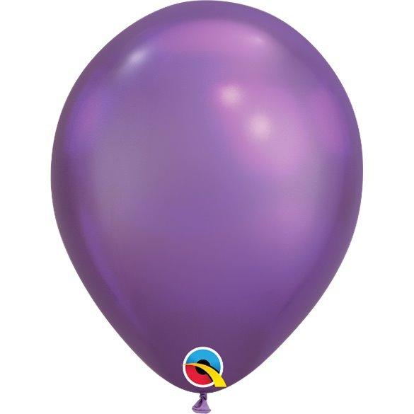 """Globos CHROME QUALATEX Purple de 11""""- 28cm (100)"""